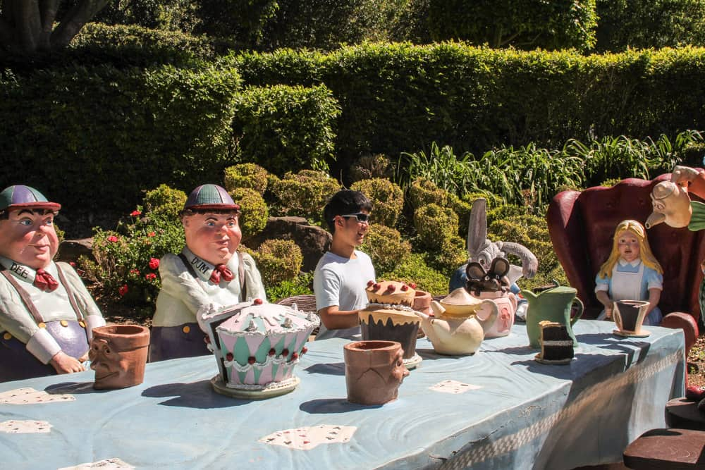 James sitting at the Mad Hatter's tea party.
