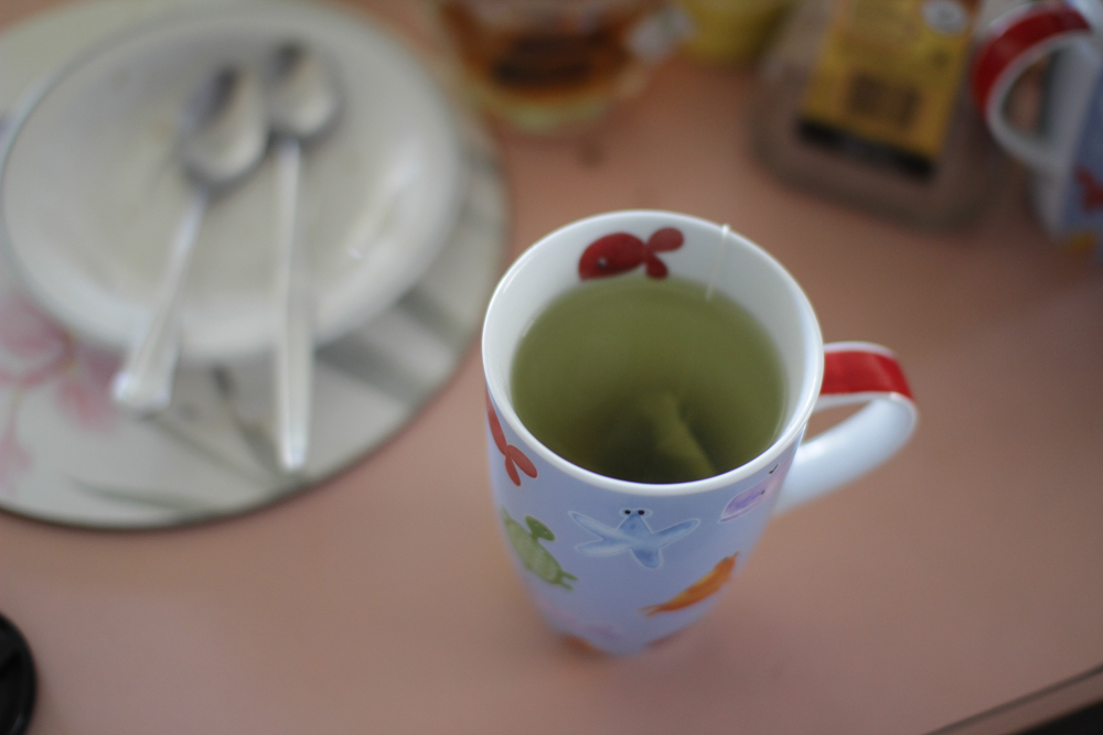 Japanese green tea in my sea animals mug