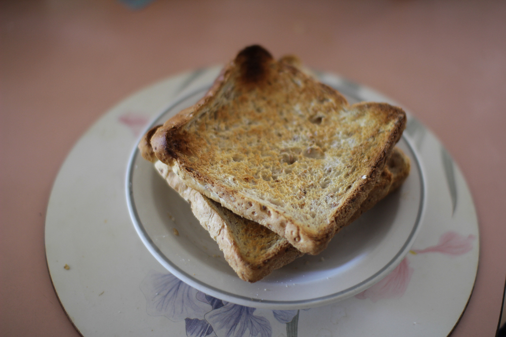 Slightly burned toast