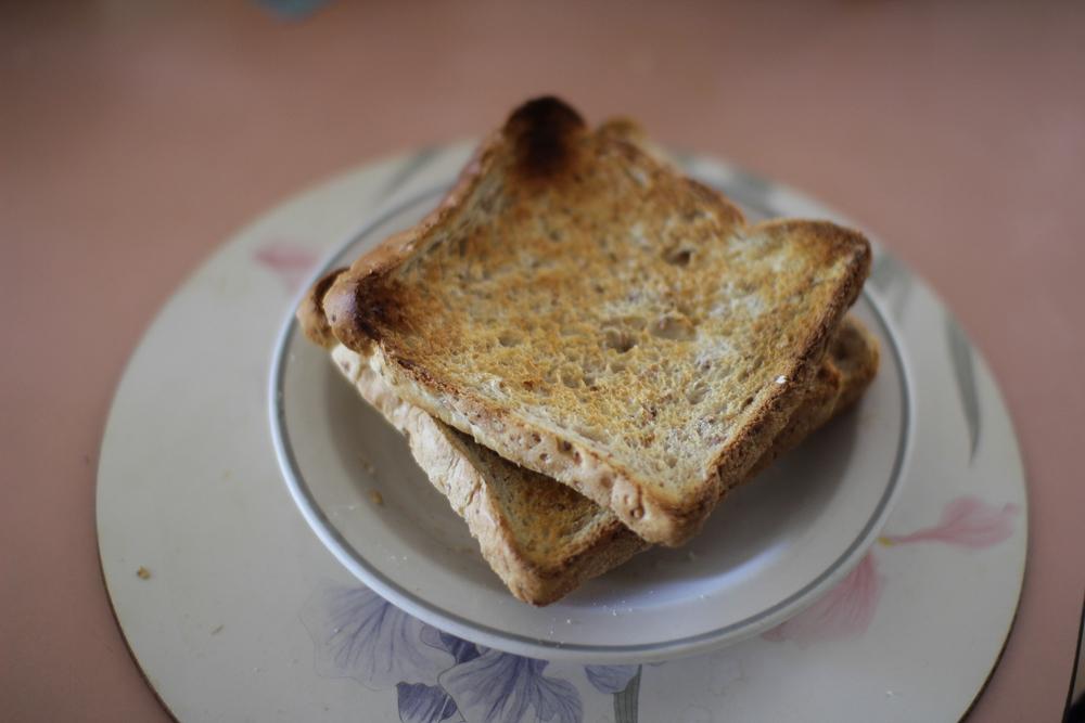 Slightly burned toast