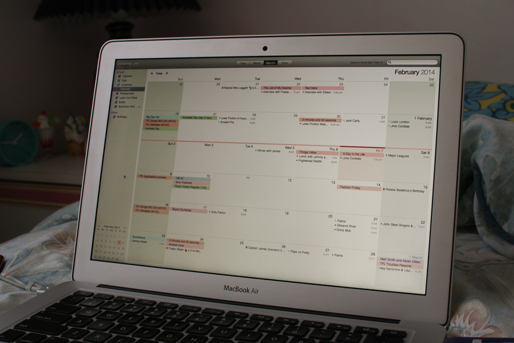 My calendar. A lot is going on!