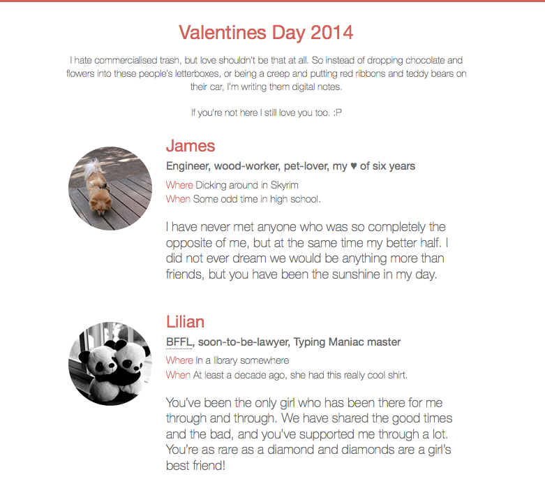 Valentine's Day 2014 web project