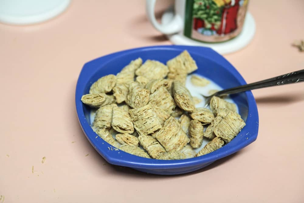 Mini-wheats and milk for breakfast