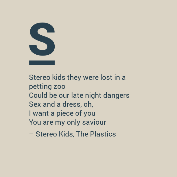 Notegraphy note: Stereo Kids by The Plastics