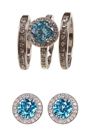 Lovisa Diamond Simulants (Blue) three set rings, and earrings