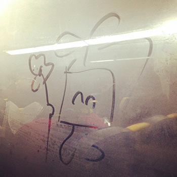 I drew on the foggy train window