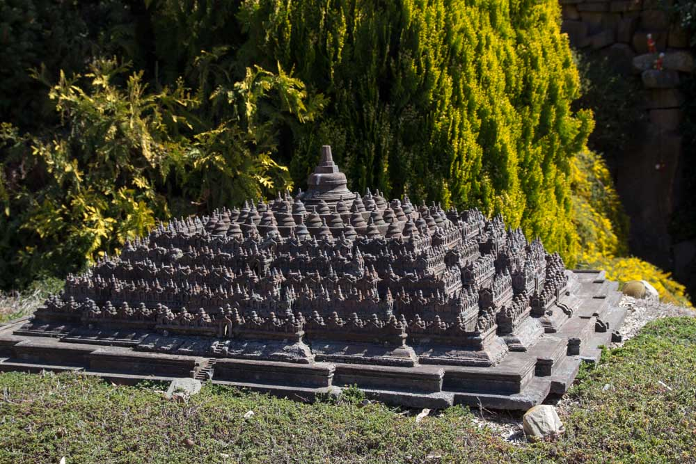 Replica of Borobudur, a Buddhist temple in Indonesia
