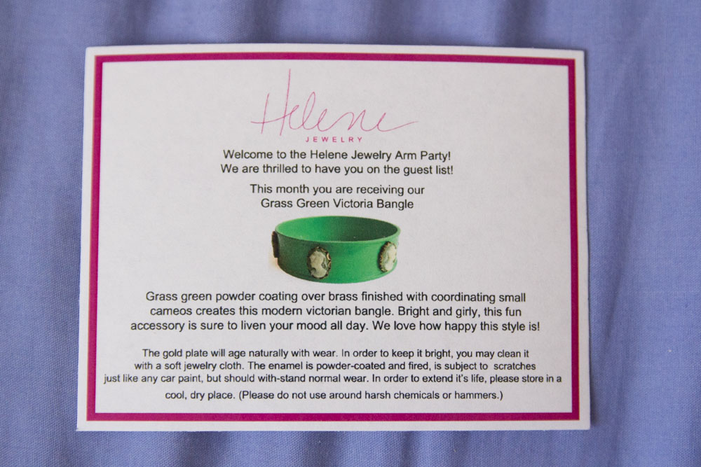 Information card for Grass Green Victoria Bangle