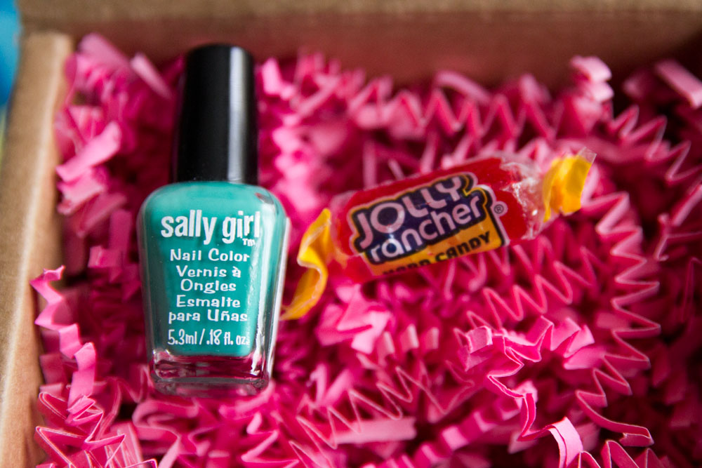 Aqua nail polish and Jolly Rancher