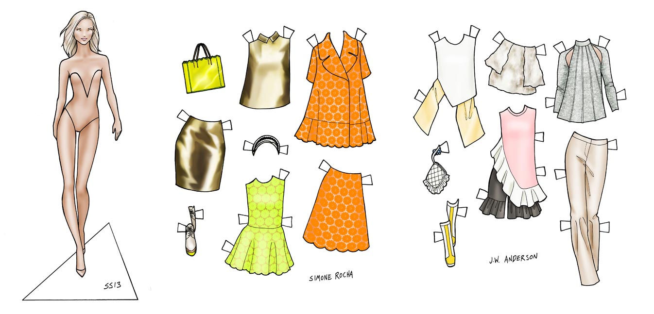 Paper doll drawing/diagram