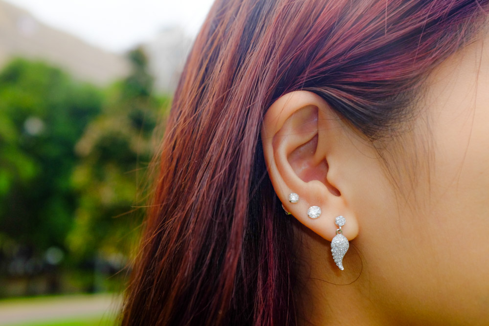 Wing earrings and simple studs