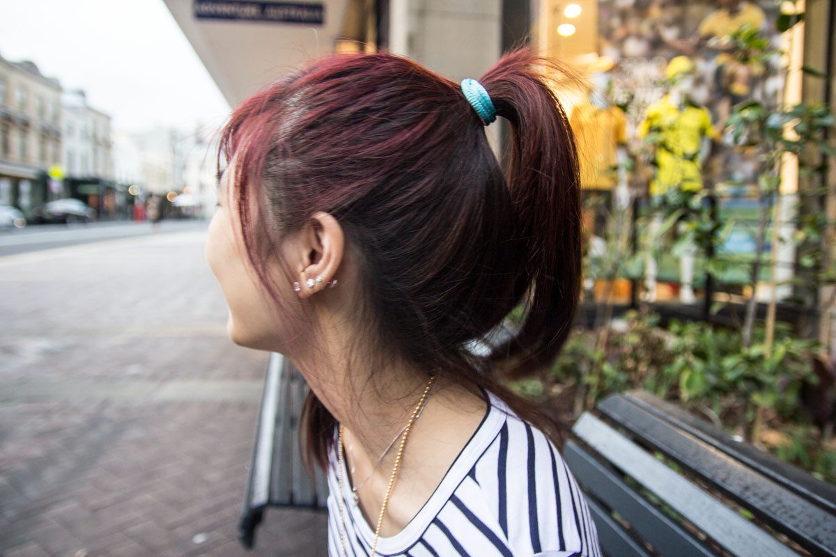 Close side view of hair in pony