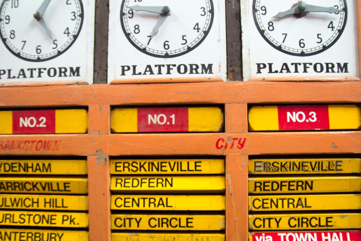 Ancient train timetable display