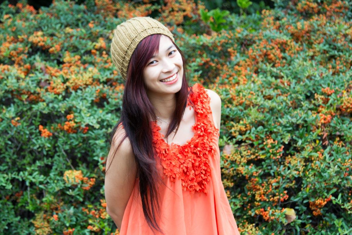 Orange top without cardigan