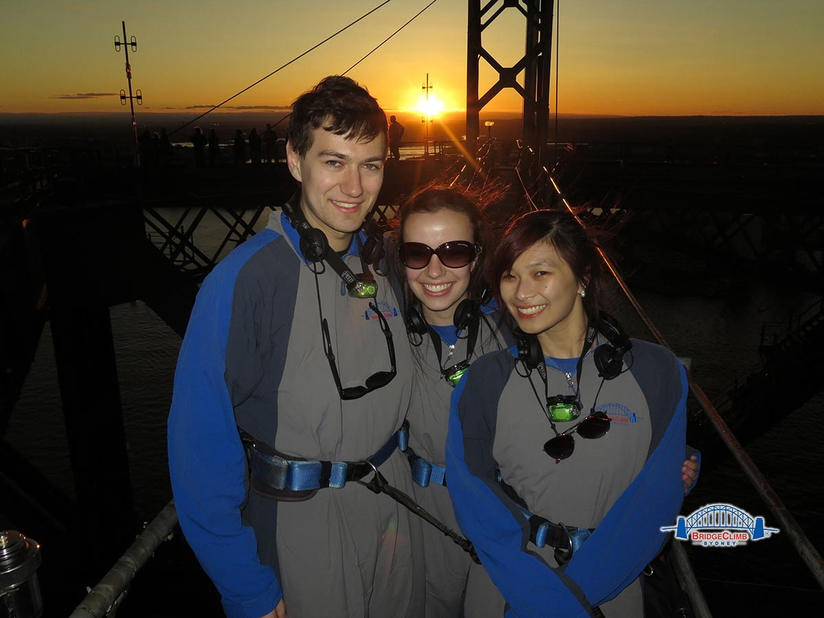 Nick, Nick's sister Beck, and me doing the Sydney Harbour Bridge climb