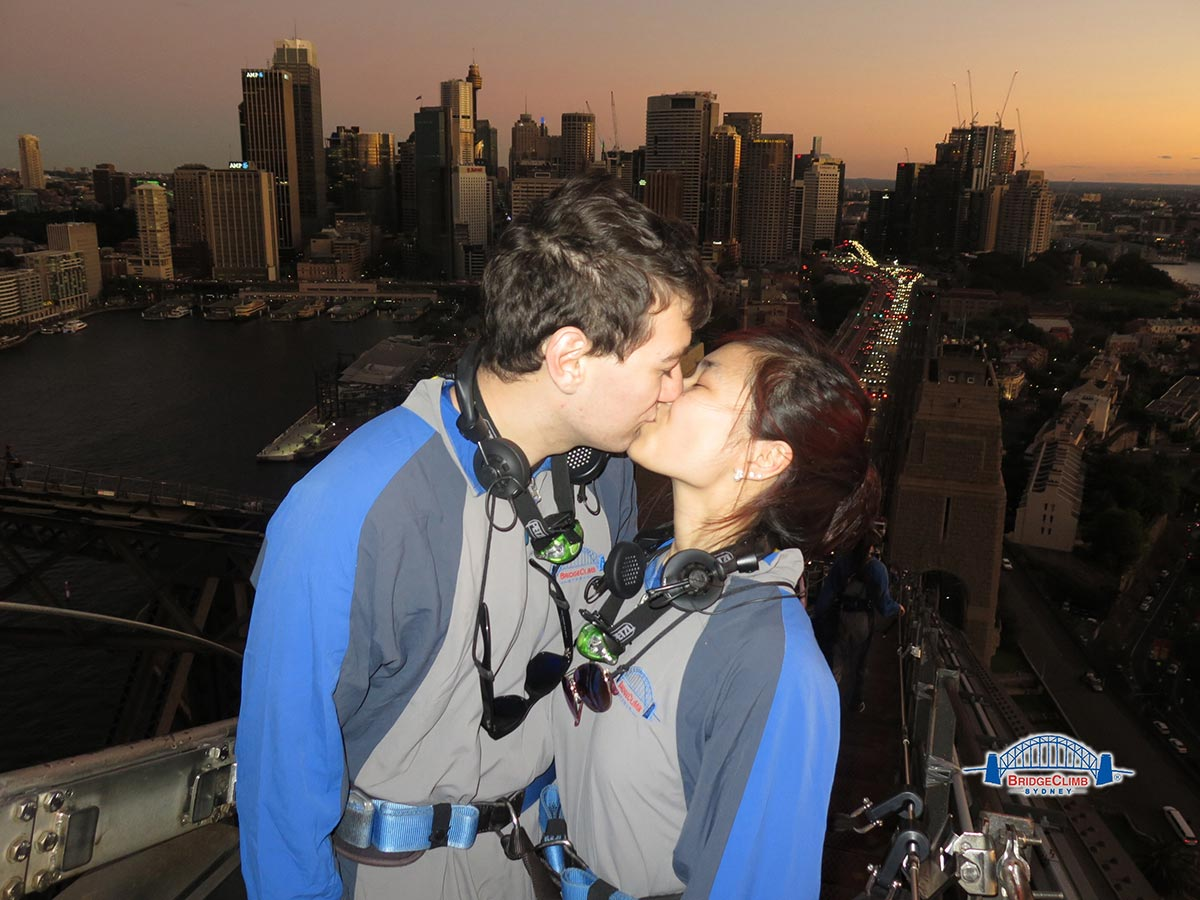 Nick and I kissing on top of the bridge