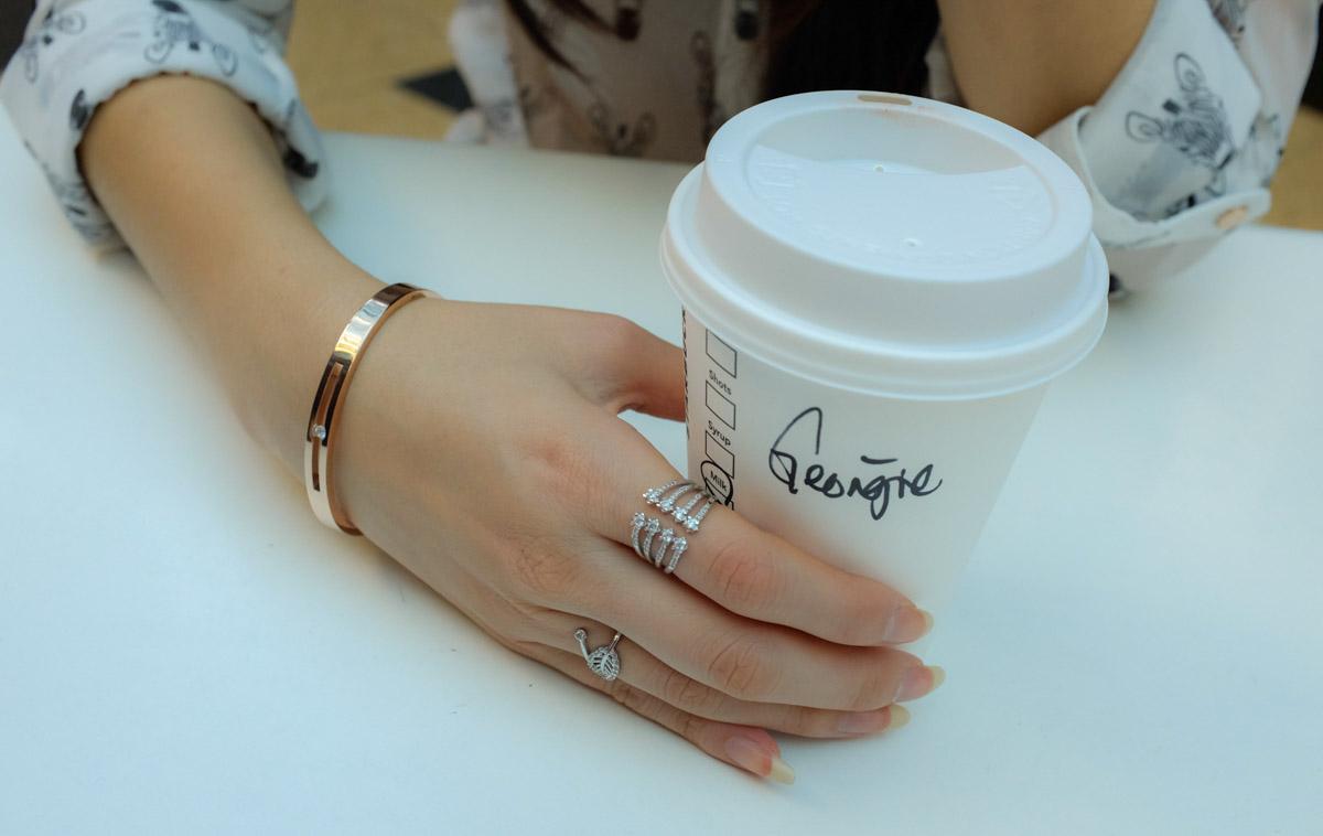 "Rose gold ""floating crystal"" bangle"