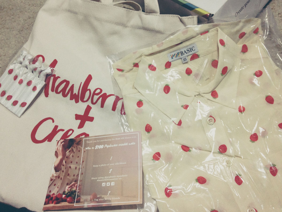 "My Popbasic ""Strawberries and Cream"" silk blouse arrived."