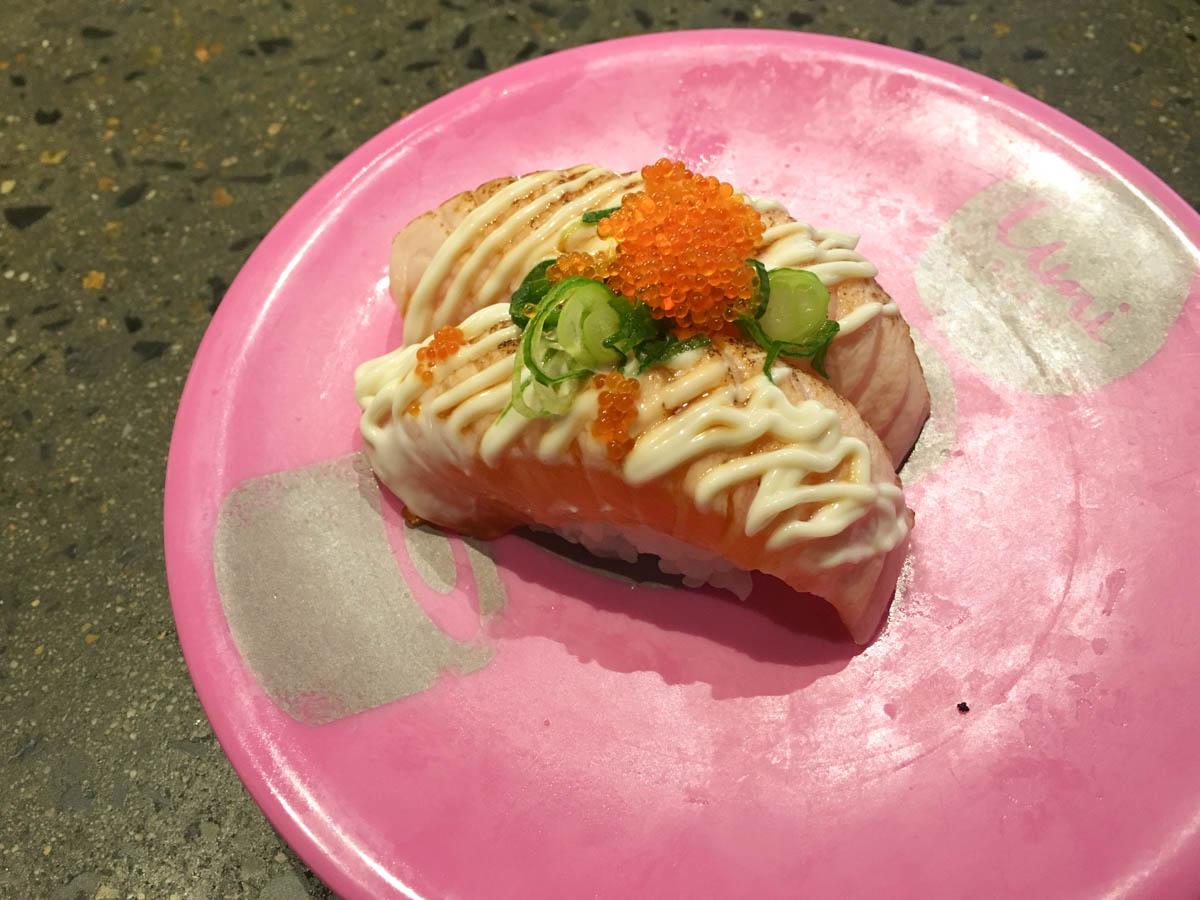 Grilled salmon nigiri sushi