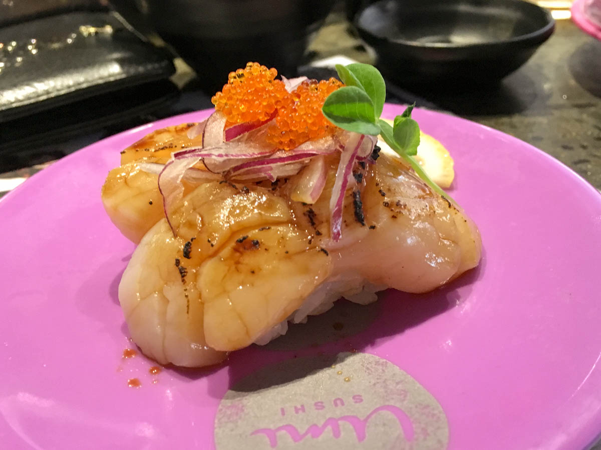 Lightly grilled scallop sushi