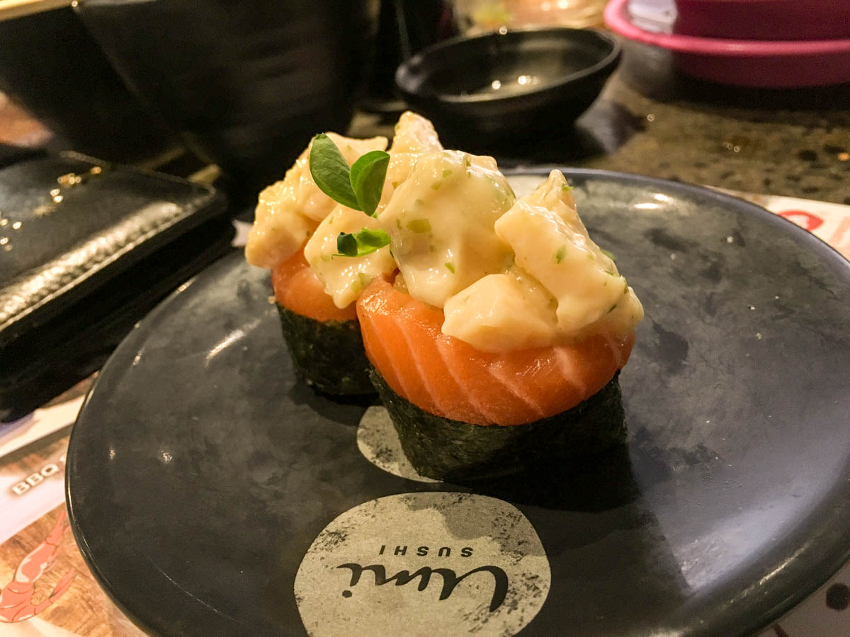 Abalone salmon gunkan
