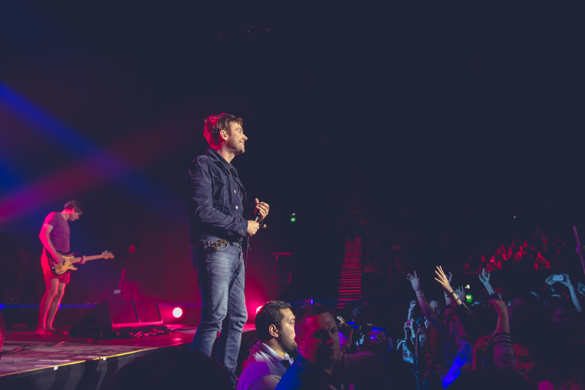 A shot of Damon Albarn with the audience