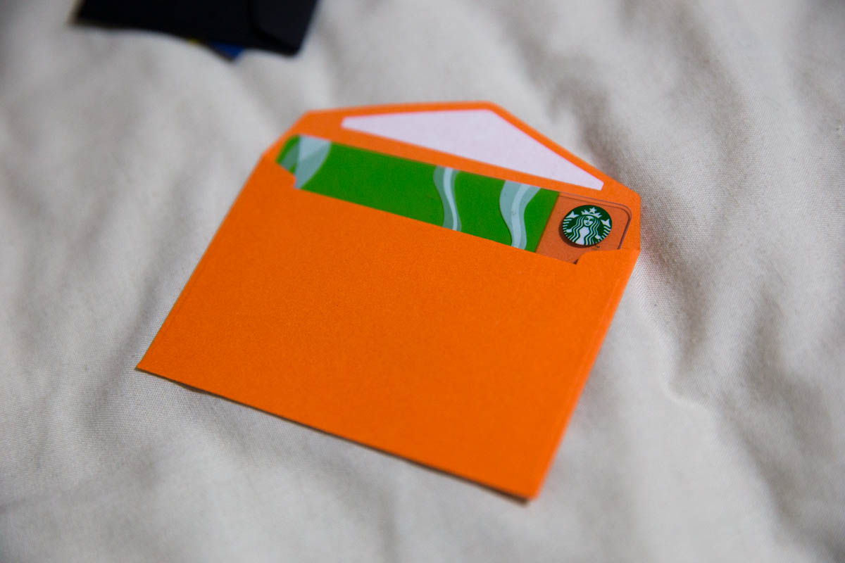 The small envelopes fit a credit card