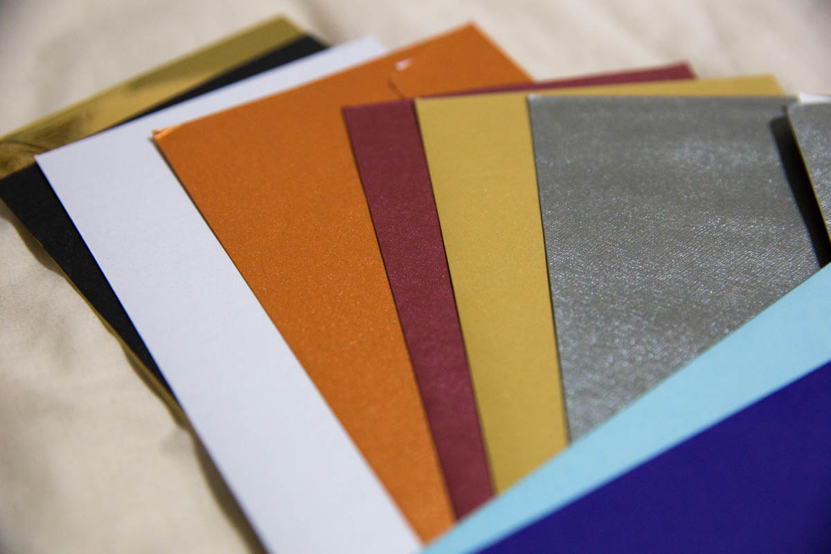 Metallic and textured envelopes in a long folded letter size