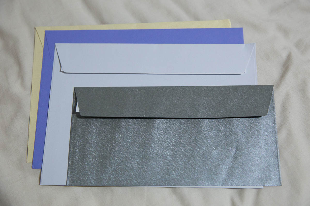 A comparison of some of the envelope sizes