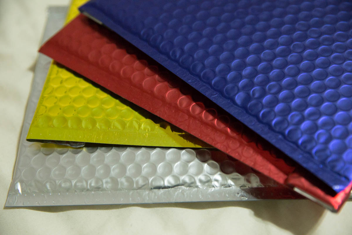 A close look at the metallic colours of some of the bubble envelopes