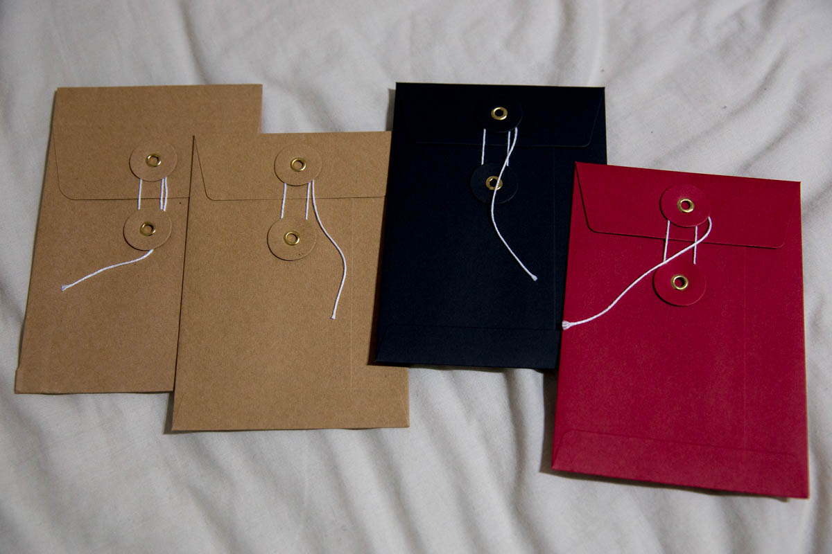A few string and washer envelopes