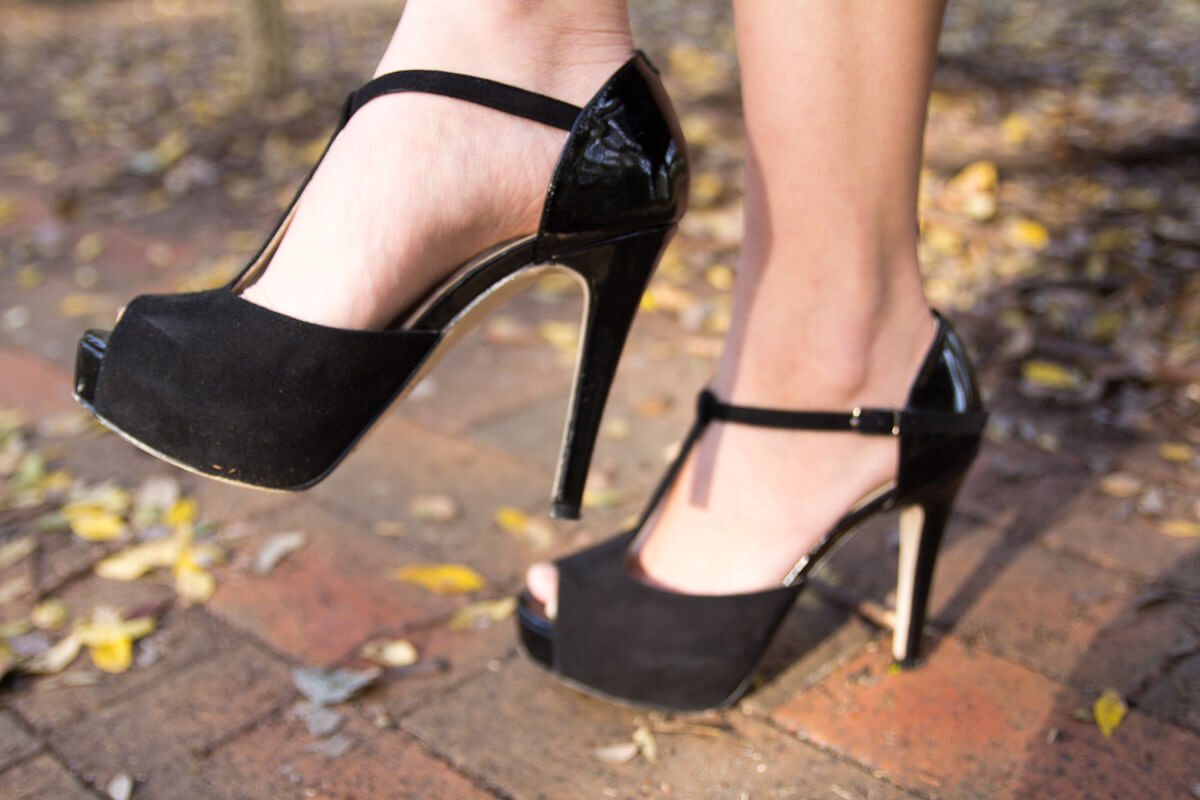 Close up of black platform shoes