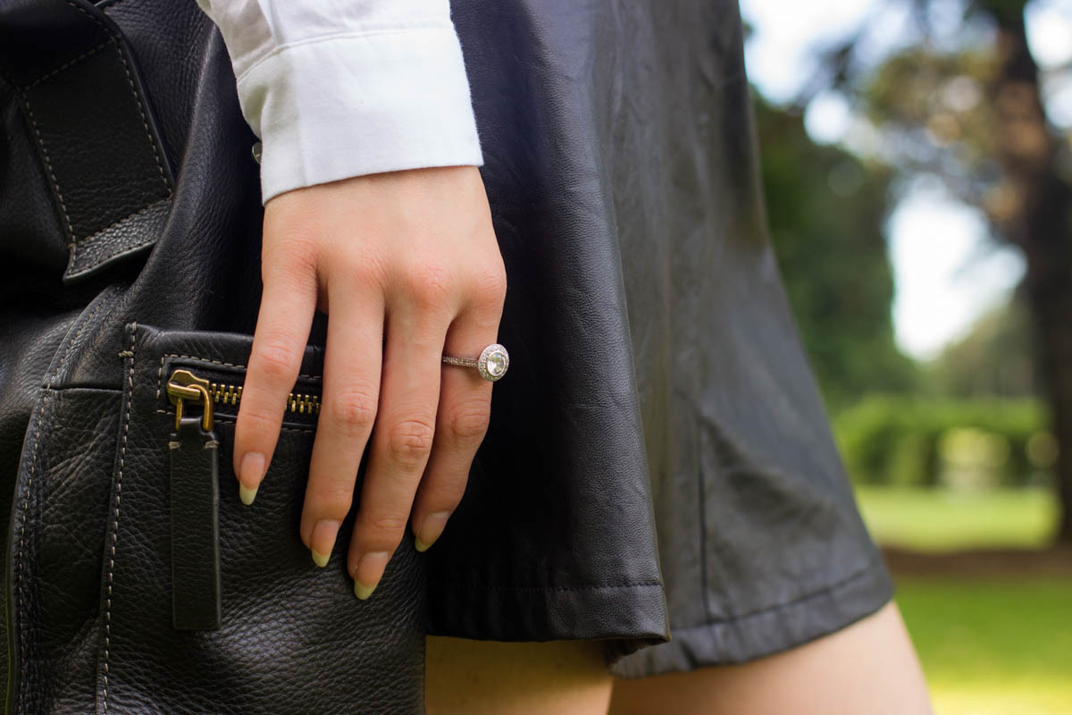 Close up of skirt and ring