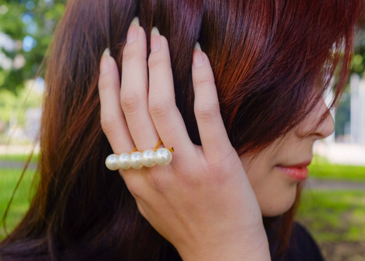 Close-up of pearl ring