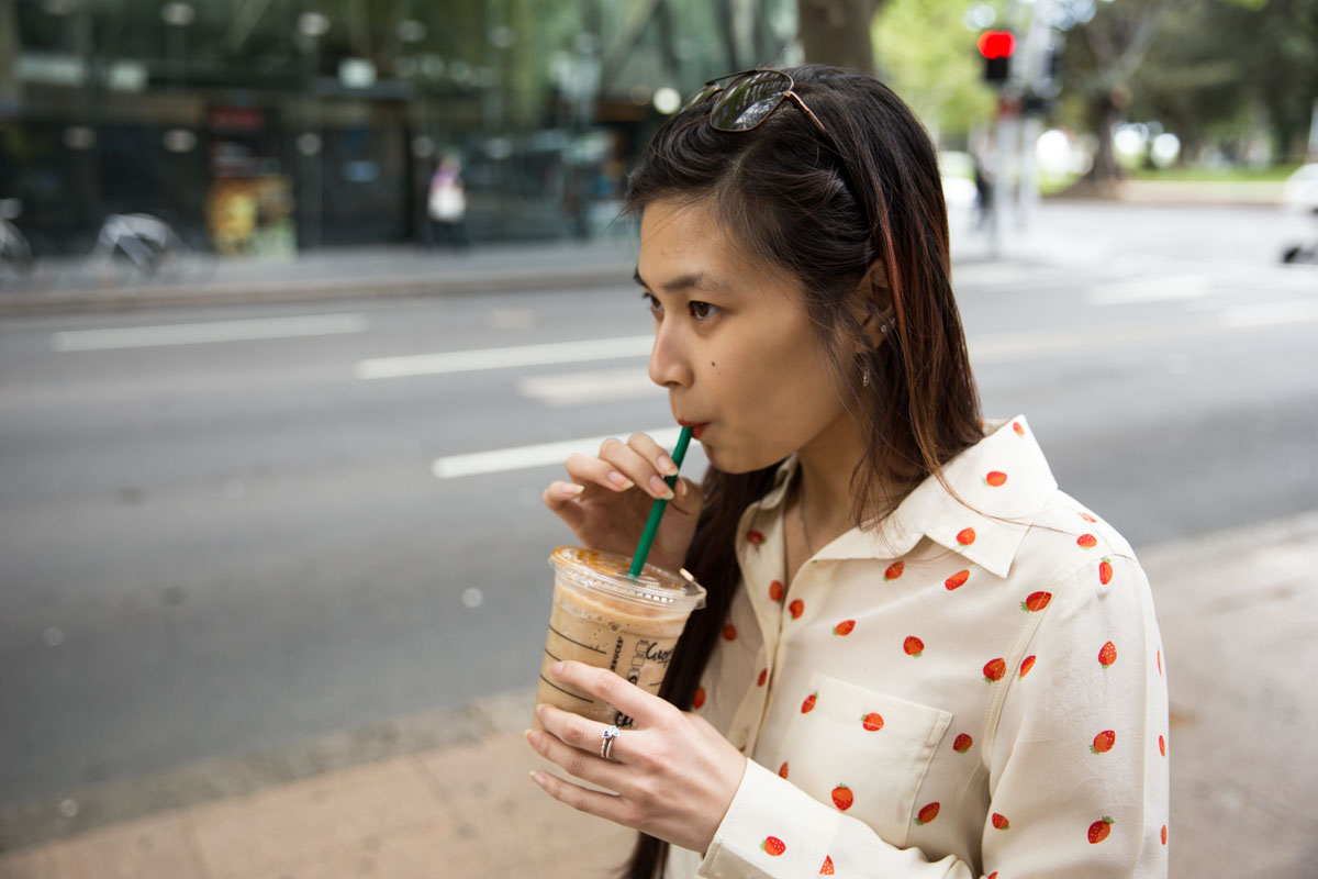 Me drinking a caramel frappuccino. Yeah, I didn't really want the strawberries and cream frap...