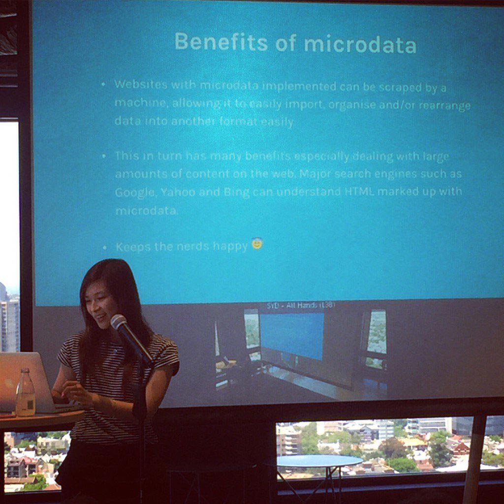 Presenting my talk on microdata.