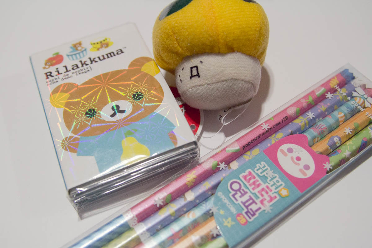 Pencil set, Rilukkuma notes and mushroom plushie