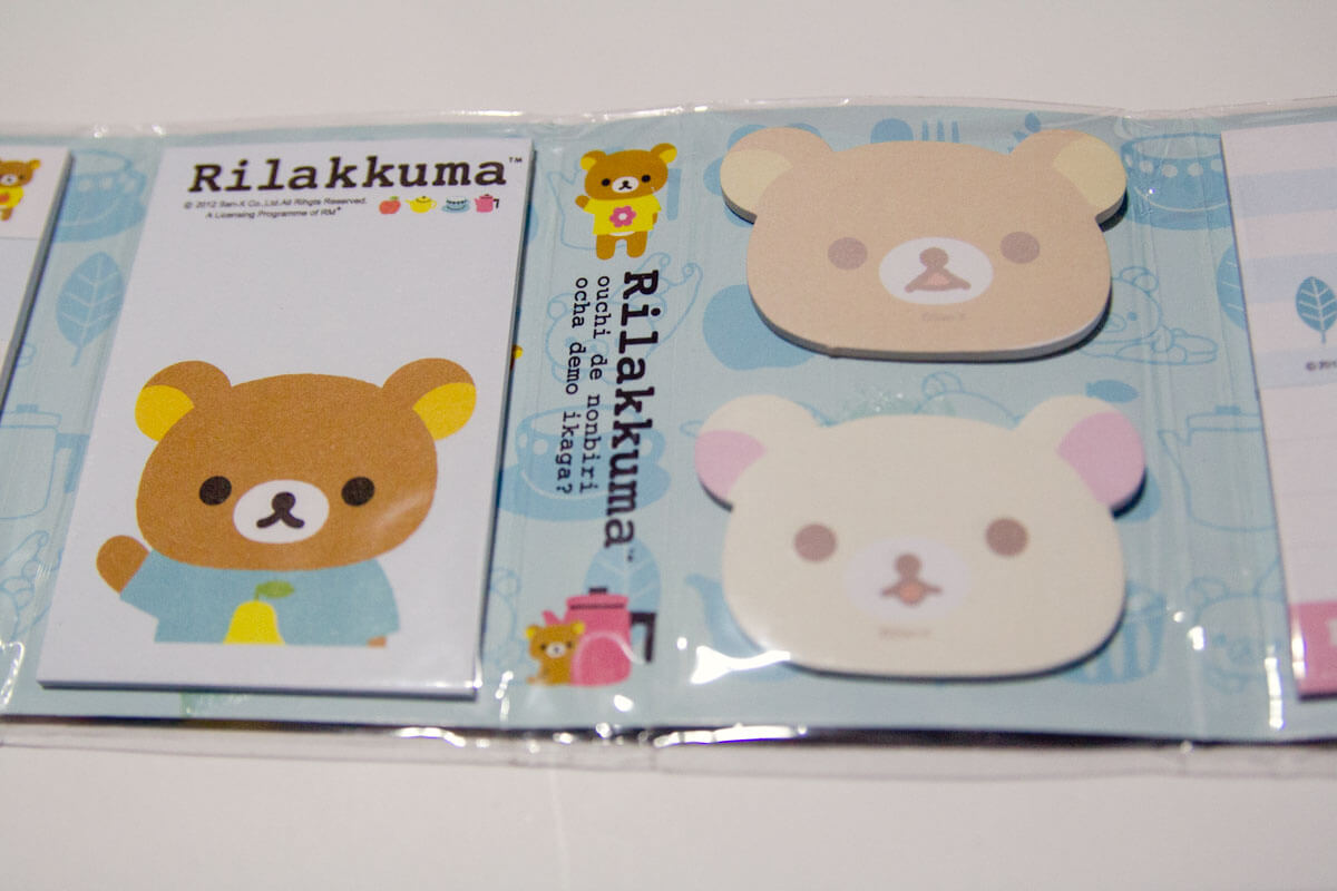 Some of the bear-shaped Rilakkuma notes