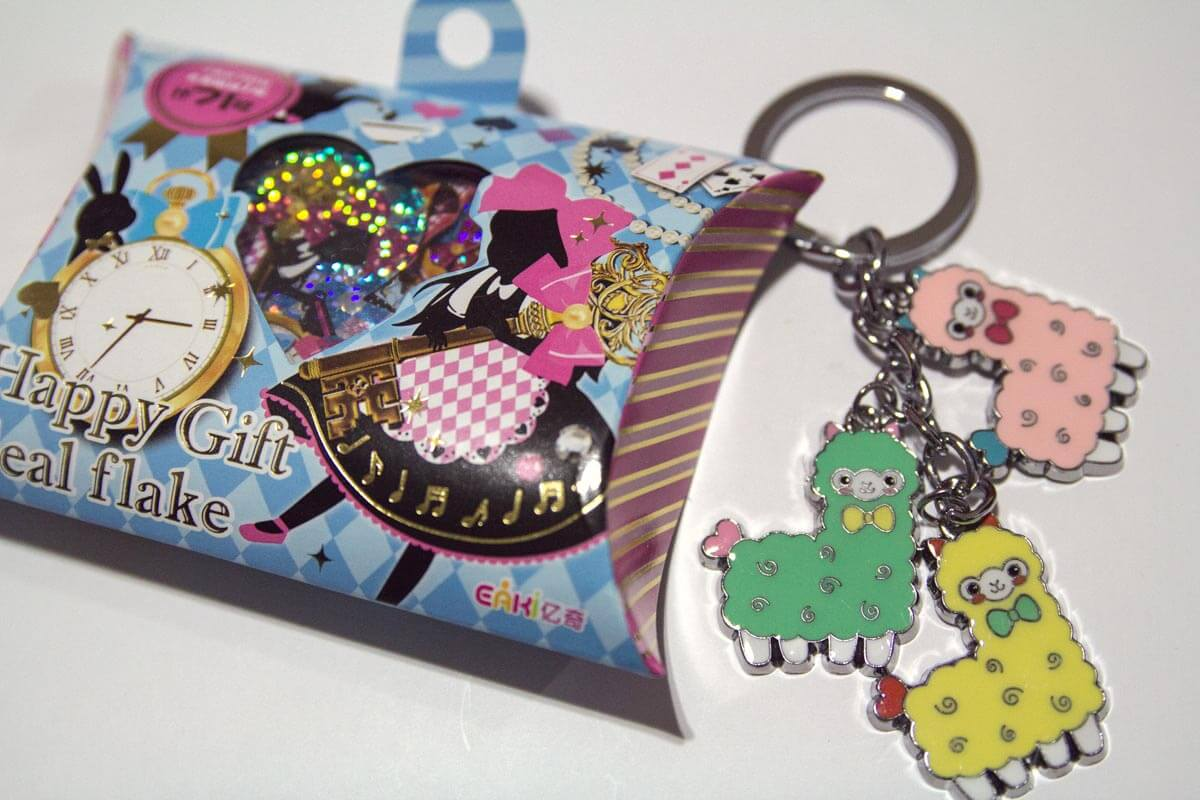 Alpaca keychain and flake seal stickers