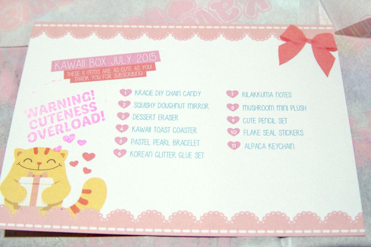 Description of items in the box