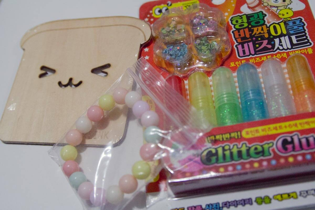 Bracelet, coaster and glitter glue