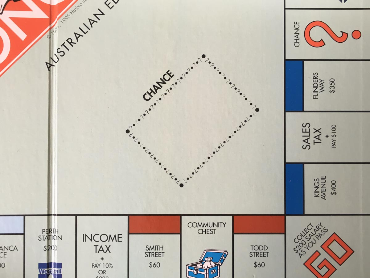 A close-up shot of my Australian Monopoly board