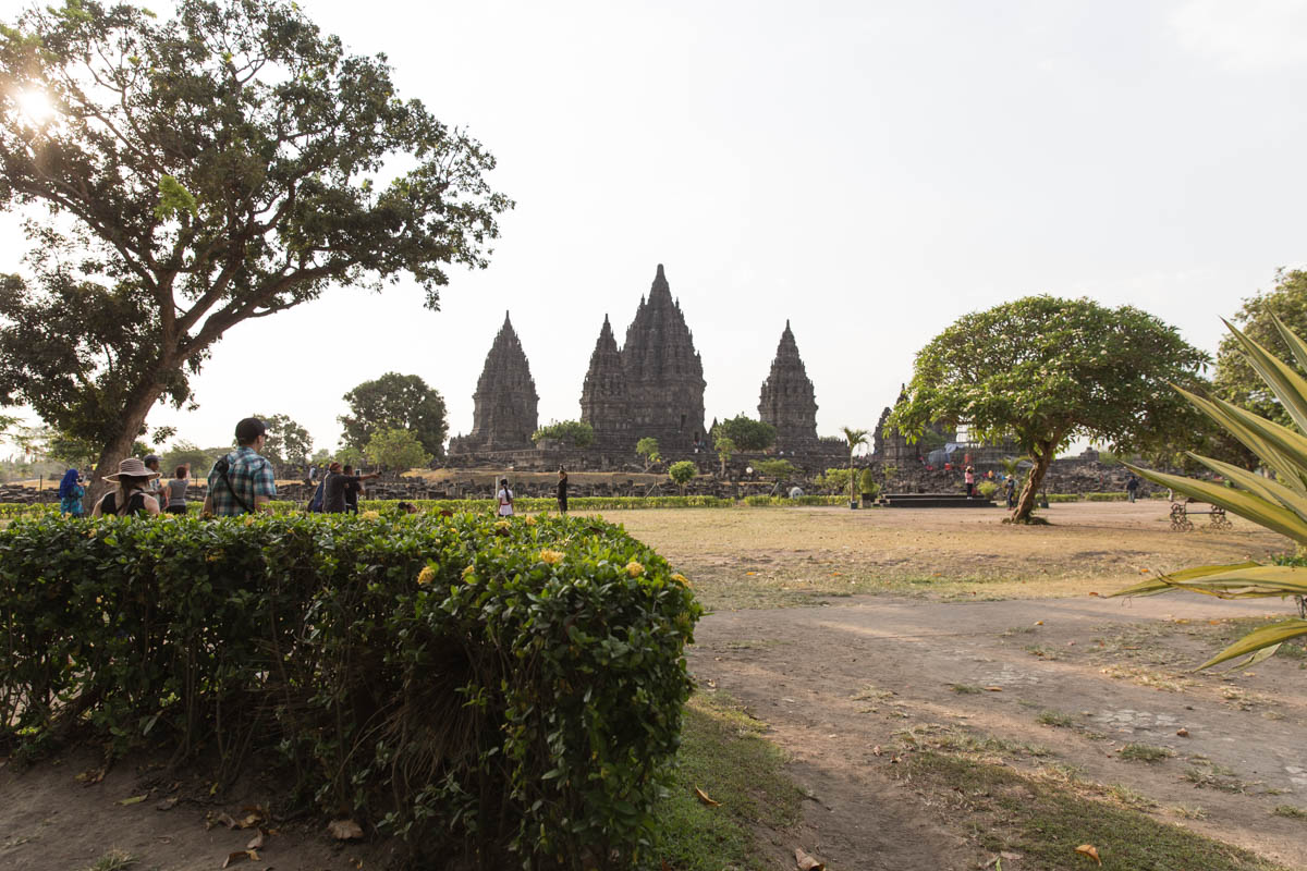 View of Prambanan from afar