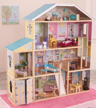 A girly, modern doll house with stairs and elevator