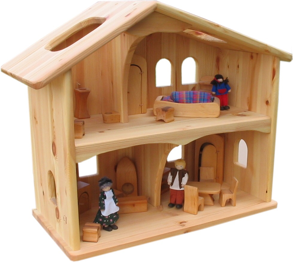 A two-storey wooden doll house with slightly distinct rooms, but no stairs