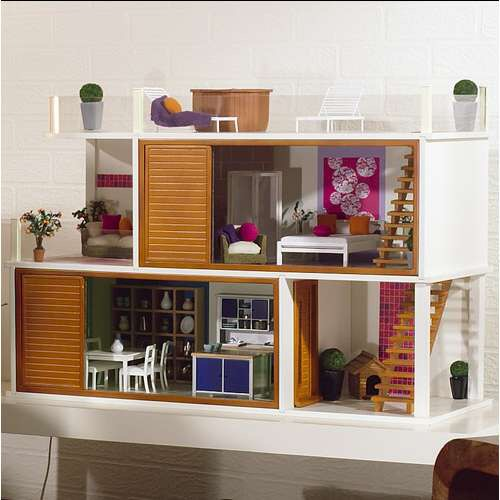 A simple doll house with stairs and doors