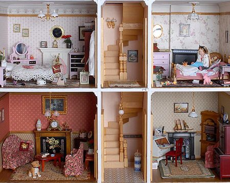 A front view of the rooms of a doll house