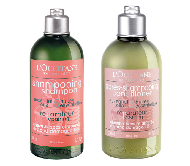 L'OCCITANE repairing shampoo and conditioner bottles.