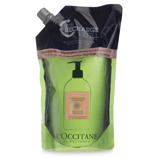 L'OCCITANE repairing shampoo in a resealable bag.