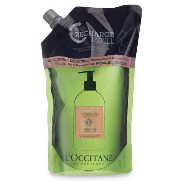 L'OCCITANE repairing shampoo in a resealable bag.